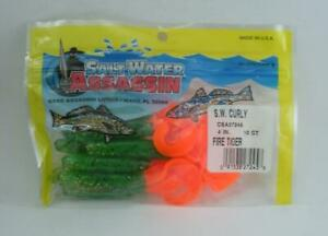 """Bass Assassin CSA27245 4"""" Curly Shad 10CT Color Fire Tiger 24162"""