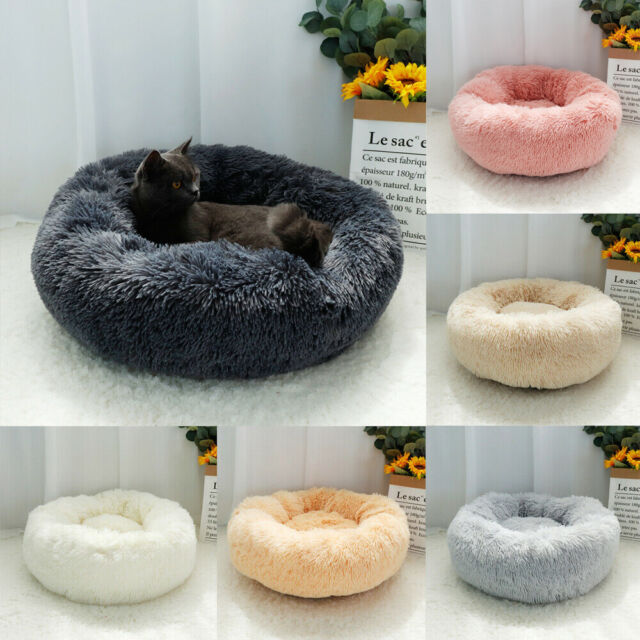 Pet Dog Cat Calming Bed Warm Soft Plush Round Nest Comfy Sofa Cushion 100cm XXL