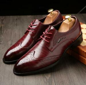 Men-039-s-Oxfords-Casual-Leather-Shoes-Lace-Up-Dress-Business-Office-Formal-Wedding