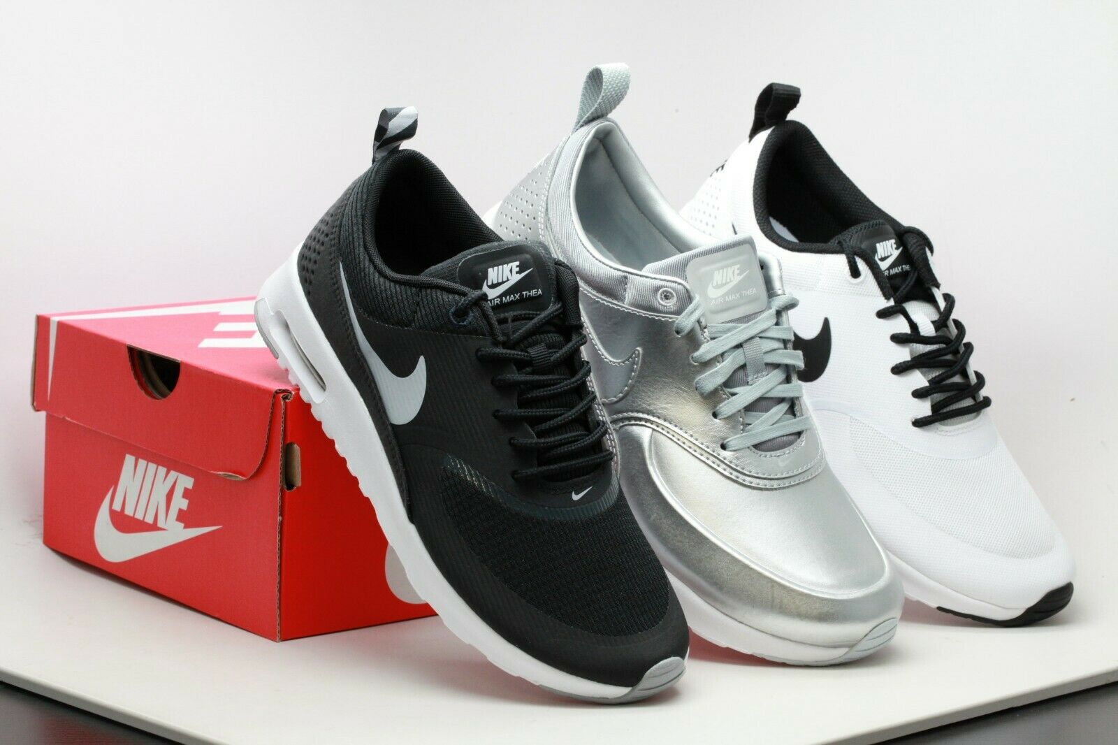 AUTHENTIC Nike Women's Air Max Thea Black Wolf Grey, White Black Metallic Silver
