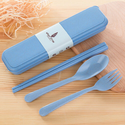 Cutlery Set Portable Travel Wheat Straw Fork Camping Picnic Office Dinnerware