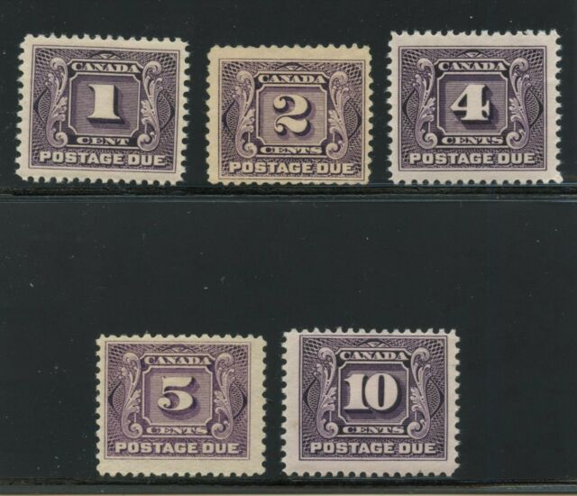 Canada 1906-28 First Postage Due issue set #J1-J5 mhr