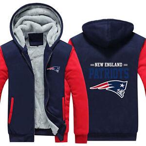 New-England-Patriots-Fan-Hoodie-Fleece-zip-up-Coat-winter-Jacket-warm-Sweatshirt