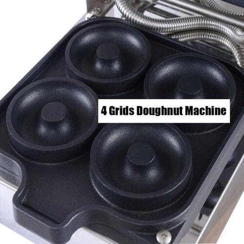 Commercial Nonstick Electric 4pcs 60mm Ring Doughnut Donut Maker Machine Baking