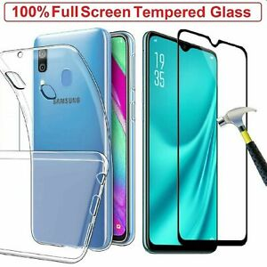 Samsung-Galaxy-A90-5G-Clear-Gel-Case-Tempered-Glass-Screen-Protector-TPU-Cover