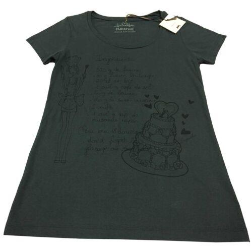 para antracita talla Italy mujer 100 media Empathie S In Made algodón manga Camiseta wXqd6PX