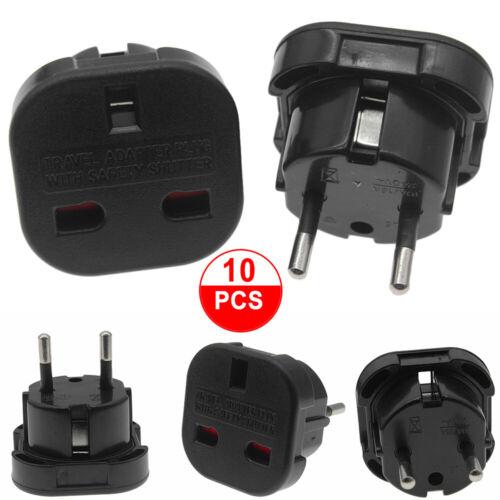 10Travel Adaptor UK to EU Pin Convert Power European Plug Converter Euro Charger