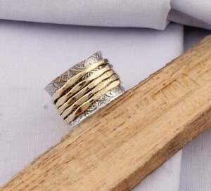Solid-925-Sterling-Silver-Spinner-Ring-Meditation-Ring-Statement-Ring-Size-s8777