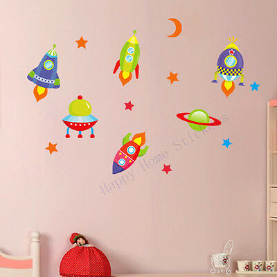 Wall Stickers Space Rockets Children's Room Removable Wall Stickers
