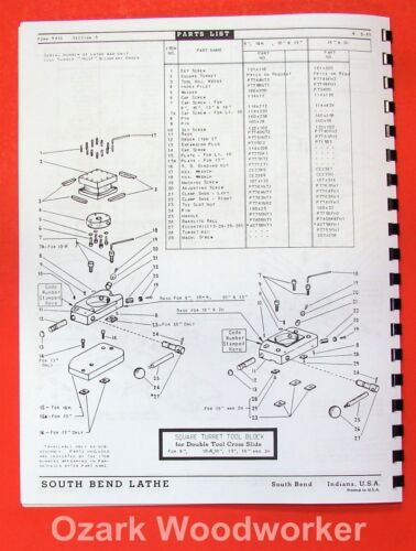 "SOUTH BEND  9/"" /& 10/"" Metal Lathe ACCESSORIES Parts Manual 0678"