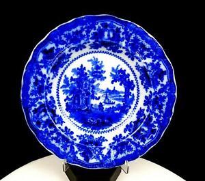 W-ADAMS-amp-CO-ENGLAND-FAIRY-VILLAS-FLOW-BLUE-SCALLOPED-8-7-8-034-SOUP-BOWL-1890-039-S