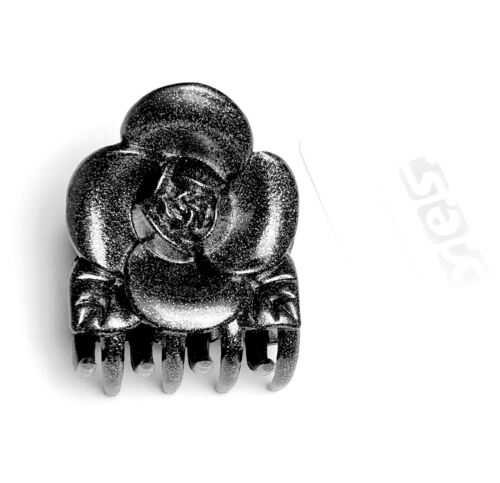 Haarkrebs Haarklammer Haarspange Glitzer Blume Rose anthrazit 4,5 cm x 5,5 cm