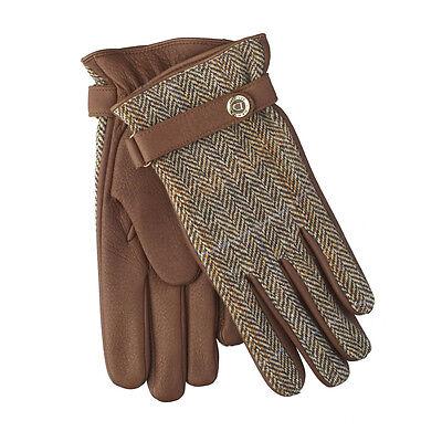 DENTS Harris Tweed and Deerskin Leather Gloves 15-1597 - Tobacco Brown