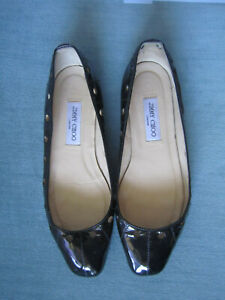 Jimmy-Choo-Laser-Cut-Cutouts-Black-Patent-Leather-Ballet-Flats-Sz-41-5-11-5-475