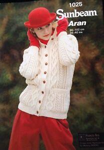 Sunbeam aran knitting pattern ladies aran cardigan 1025 size 3440 image is loading sunbeam aran knitting pattern ladies aran cardigan 1025 dt1010fo
