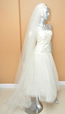 VIntage 60's white ivory cream wedding gown/veil Spanish Long Veil