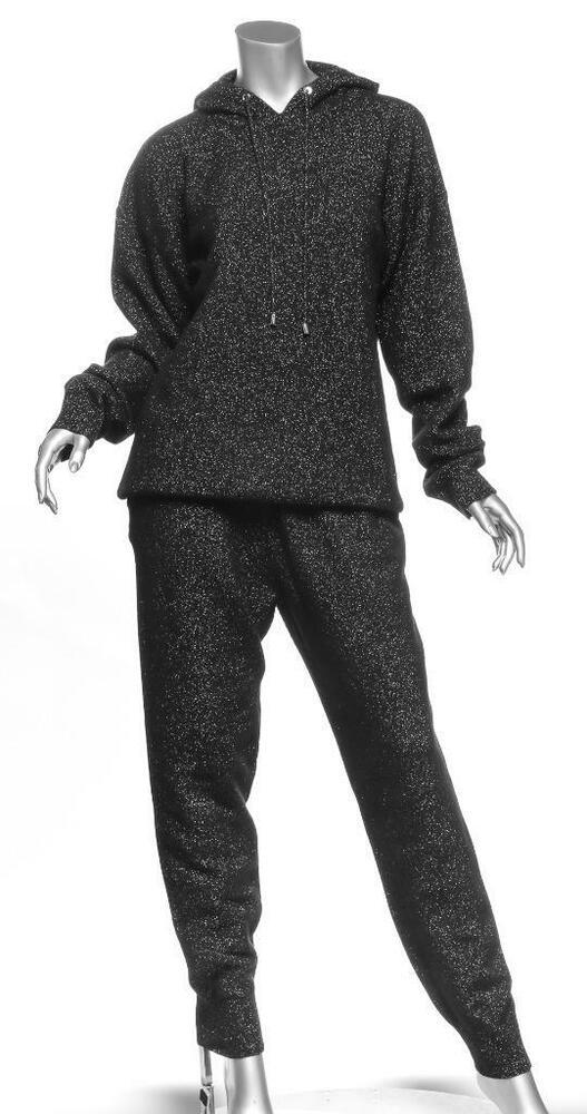 Markus Lupfer Lurex Jogger Noir Cachemire Blend Tricot Pantalon Ensemble M Neuf