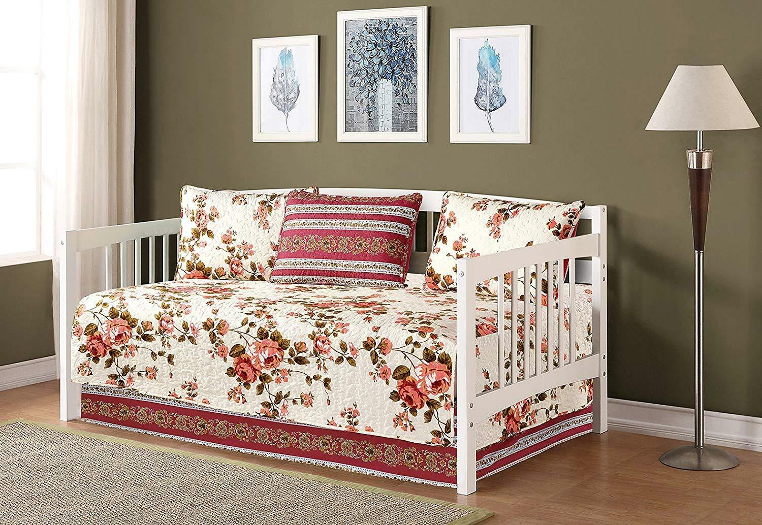 Fancy Linen 5pc Day Bed Cover Floral Beige Pink Green New