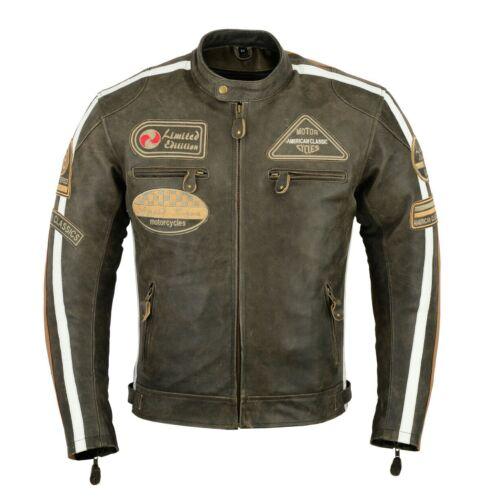 GMA Motorrad Leder jacke Herren Harley Styel Leder jacke Antik Neue S Bis 4XL