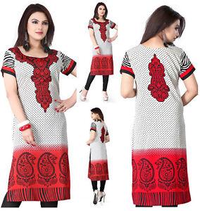 UK-STOCK-Women-Fashion-Indian-Long-Kurti-Kurta-Top-Shirt-Dress-117A