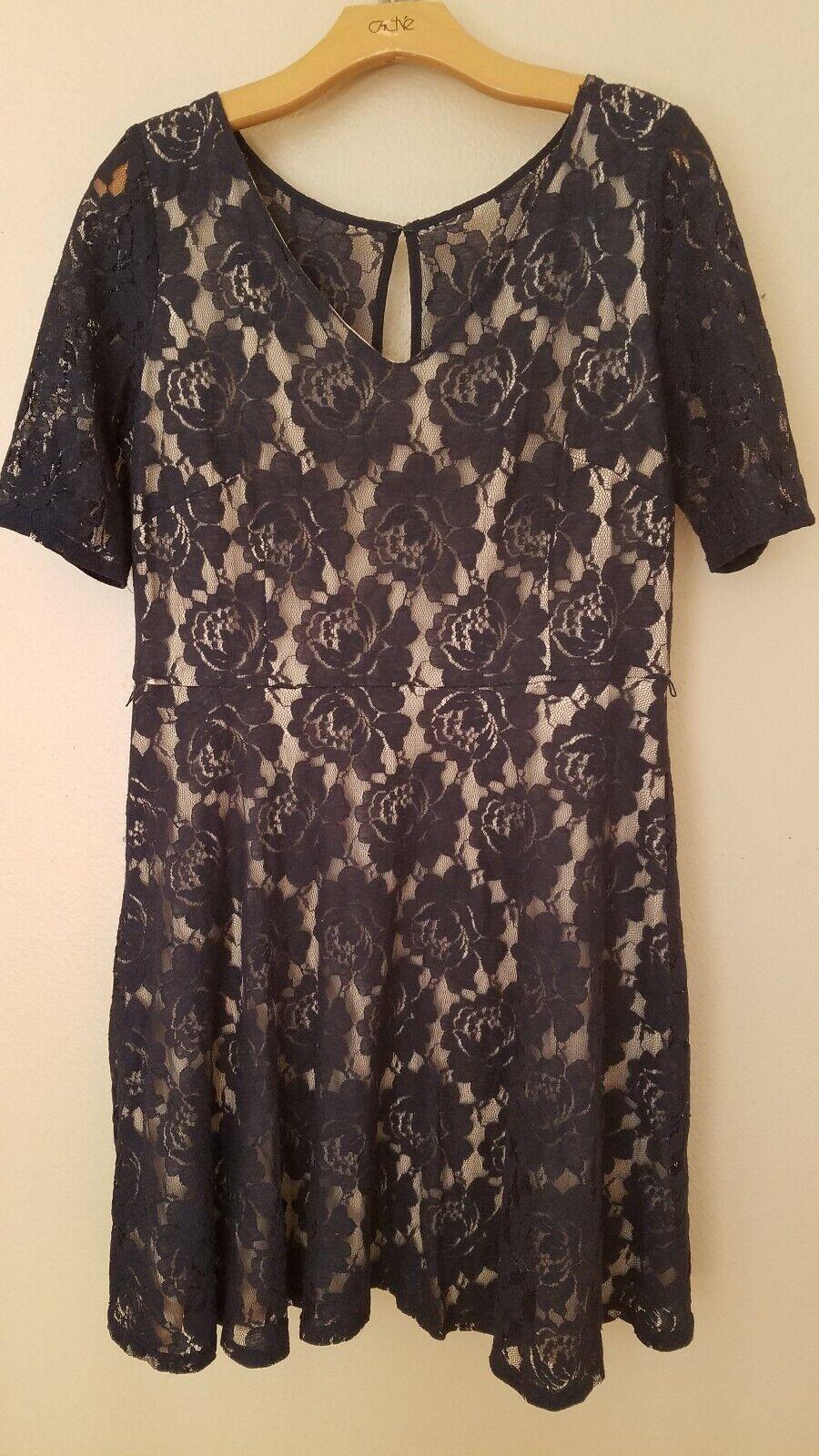 Julian Taylor New York Women's Dress Lace Overlay Party A-line Keyhole Size 16