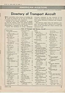 """DIRECTORY OF TRANSPORT AIRCRAFT, BY """"AMERICAN AVIATION"""", VINTAGE 1958 BROCHURE"""