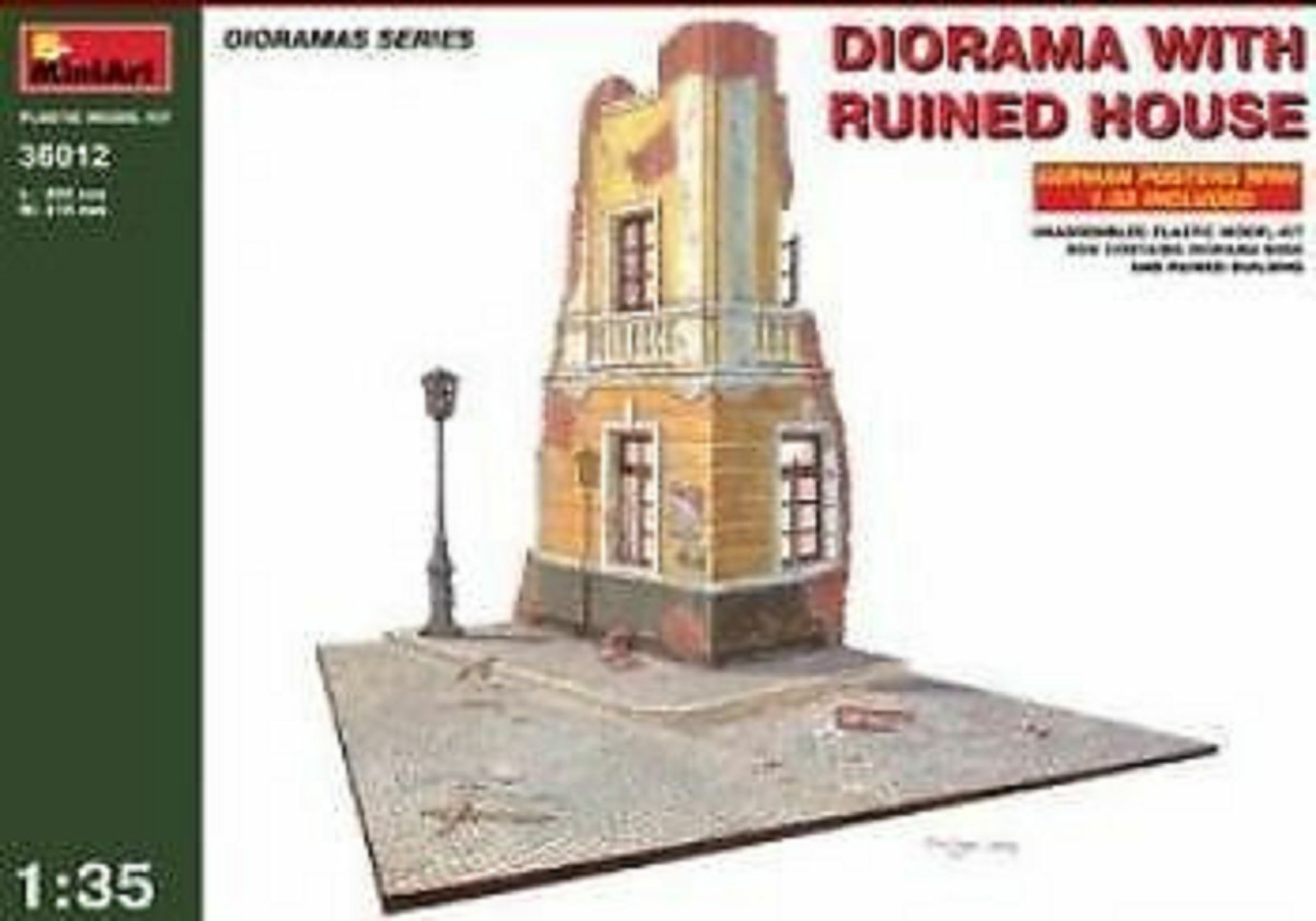 1 35 MINIART DIORAMA WITH RUINED HOUSE model kit 36012 plastic model kit