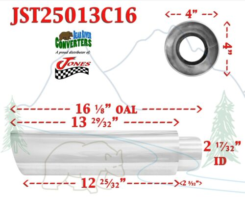 """JST25013C16 PAIR 2.5/"""" Stainless Round Truck Exhaust Tips 2 1//2/"""" Inlet //16/"""" Long"""