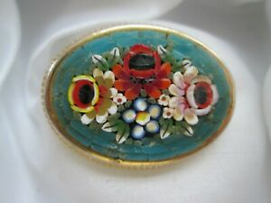 Vintage-Jewellery-Micro-Glass-Mosaic-Oval-Gold-Tone-Rope-Edge-Flower-Brooch-Pin