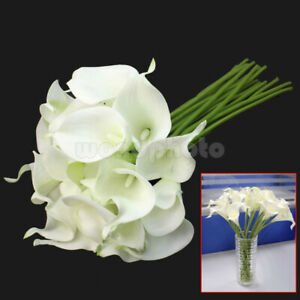 Calla-Lily-Bridal-Wedding-Party-Decor-Bouquet-20-heads-Latex-Touch-Flower-Bunch