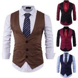 Fashion-Mens-Waistcoat-Tops-Suit-Vest-Tuxedo-Wedding-Formal-Casual-Coat-Tops