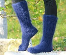 SUPERTANYA Hand knitted mohair socks Fuzzy handcrafted BLUE leg warmers SALE