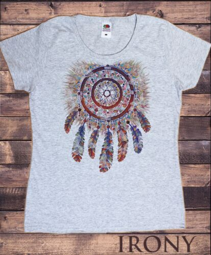 Women's Tee Spiral Red Indian Tribal Native American Feathers Culture TS740