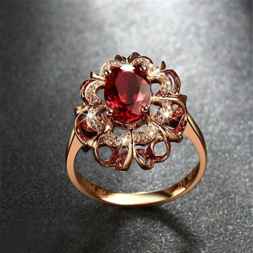 Women Finger Rose Gold Plated Wedding Rhinestone Ring Jewelry Elegant Crystal
