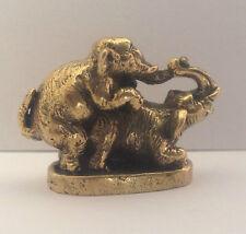 Figuren amulett miniatur statuette - Elefant Messing Bronze