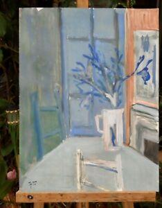 Andre-TELLIER-034-034-bouquet-034-GOUACHE-vers-1950-60-034-034-034