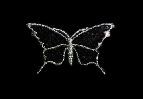 Pink Black Embroidered Butterfly Iron On Patch Silver Organza Applique