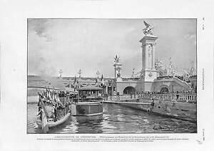 Exposition-Universelle-Emile-Loubet-Pont-Alexandre-III-Paris-ANTIQUE-PRINT-1900