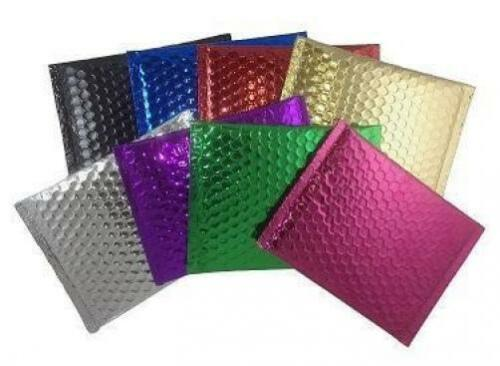 """Pack of 25 GREEN 7/"""" x 5.75/"""" Metallic Bubble Padded  Envelopes Mailers Shipping"""