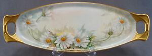 Fraunfelter-Hand-Painted-Signed-B-Goddard-White-Daisy-Flowers-Tray-C-1900-1939