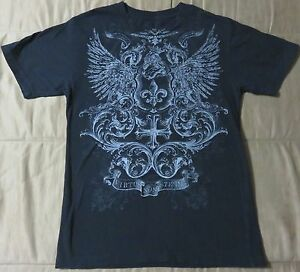 23b371830 Apt. 9 Men's Black Fleur-de-lis Wings Cross Short Sleeve Graphic T ...