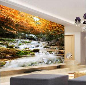 3d Autumn Leaves Steam Wallpaper Bedroom Mural Tv Background Wall