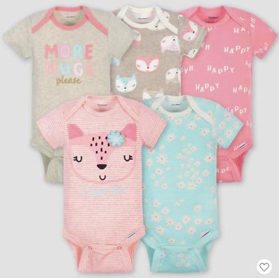 Baby Girl Lot of 5 Onesies Foxes More Hugs Love Short Sleeve NWT Gerber 0-3