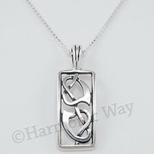 """TWO CELTIC HEARTS Intertwined Knot Love Pendant 18"""" Necklace 925 Sterling Silver"""