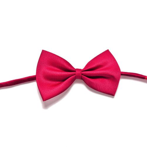 2Pcs Boys Child Kids Solid Bowtie Pre Tied Wedding Party Satin Bow Ties Necktie*