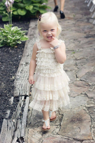 Clearance Sale Flower Girl Dress girl Lace dress Lace Dress-Rustic-Country white