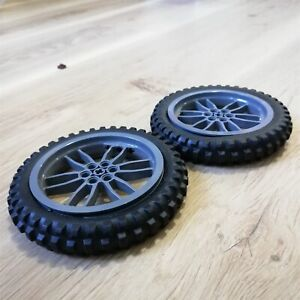 LEGO-PARTS-x2-qty-Wheel-Tire-100-6mm-D-Motorcycle-Excellent