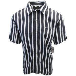 OBEY-Men-039-s-Black-amp-Indigo-Vertical-Striped-S-S-Shirt-Retail-59-99-S09