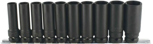 "Trident T930100 10pc Deep Hexagon Impact Socket  Set 1/2"" Drive 13-24mm on Rail"