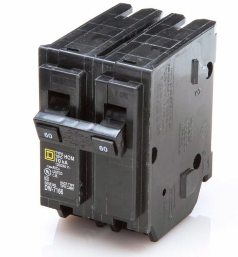 NEW SquareD Homeline CSED 60-Amp 2-Pole 120//240 Volt Circuit-Breaker Load-Switch